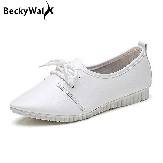 Weiß Frauen Schuhe Schwarz Lace-up Wohnungen Freizeitschuhe Frau  Komfortable Spitz Krankenschwester Schuhe Damen Flache bc03df6287