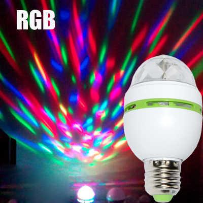 Color RGB 3W lámparas Led E27 Lampada Led Bombilla AC 85-265V 110V 220V Auto luces giratorias escenario proyector para la fiesta de DJ mostrar