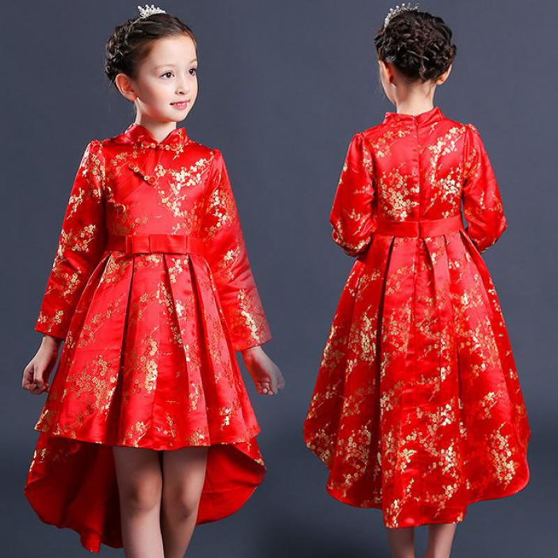 2017 Teenage Girls Chinese Style Vintage Costume Kids Clothes Floral Long Sleeve Red Dress Qipao 4 5 6 7 8 9 10 11 12 Years Old dress coat traditional chinese style qipao full sleeve cheongsam costume party dress quilted princess dress cotton kids clothing