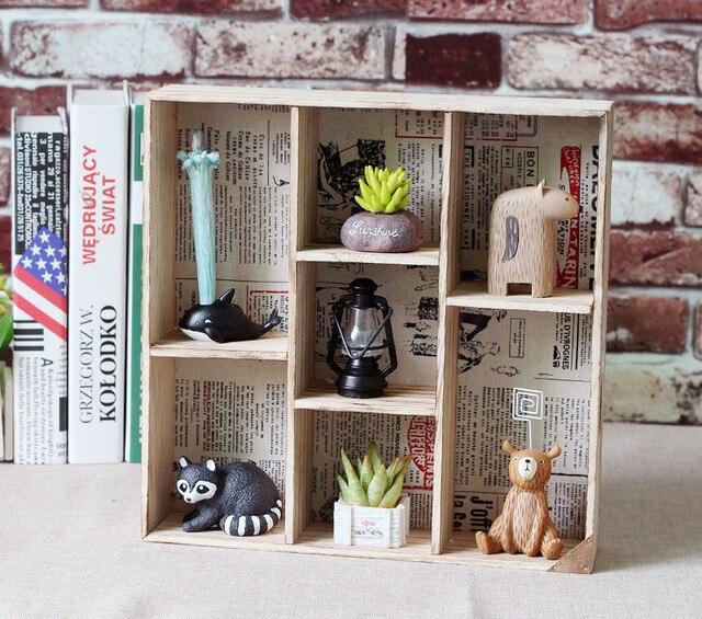 Wooden Cabinet 7 Grids Storage boxes Wall Shelf landscape Flowerpot ...