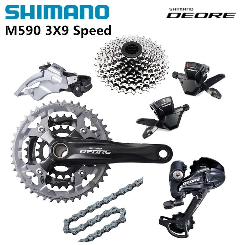 Shimano DEORE M590 shifting system with Alivio M430 Crankset 27S Groupset Derailleurs for MTB Mountain Bike speed of 3 x 9S недорго, оригинальная цена