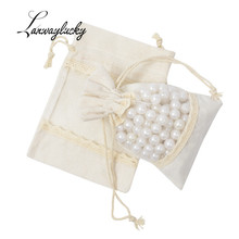10x14cm Cotton Linen Jewelry Pouches 50pcs/lot Cotton Muslin Drawstring Gifts Bags With Organza Window Party Favors Packing Bag