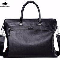 BISON DENIM Genuine Leather Men Bag Famous Brand Shoulder Bag Messenger Bag Causal Handbag 14 Inch