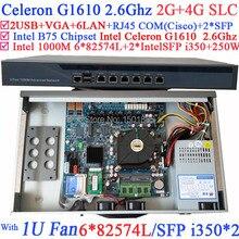 Intel Celeron G1610 2.6G 1U Брандмауэр Сервер Маршрутизатор с 6*1000 М 82574L Gigabit SFP Nic 2 * i350 2 Г RAM 4 Г SLC
