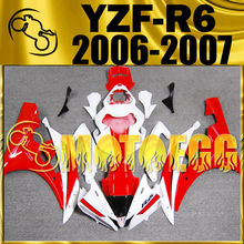 Motoegg Injection Fairing Fit YZF-R6 YZF R6 2006 2007 Red White Y66M21 + Tank  Motorcycle plastic