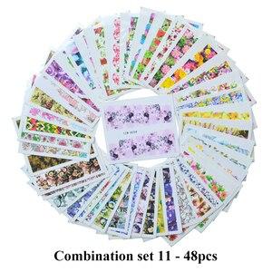 Image 3 - 도매 혼합 2020 최신 디자인 수채화 꽃 꽃 스티커 네일 데칼 세트 젤 매니큐어 장식 물 슬라이더 호일 세트