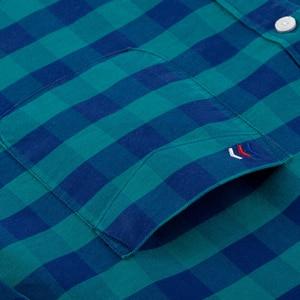 Image 3 - Camisa masculina de algodão xadrez casual, camisa de algodão oxford, com bolso único, manga comprida, gola com botão, gingham camisa com camisa