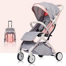 7Kg Lightweight Baby Stroller 3 in 1 Folding Portable Luxury Hot Mom Children Pushchair Yoya Plus Pink