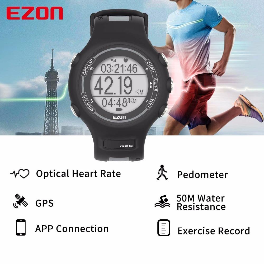 Montre de Sport numérique pour hommes montre de course GPS intelligente avec fréquence cardiaque à base de poignet 50 mètres étanche pour IOS Android EZON T907 HR-in Montres sport from Montres    2