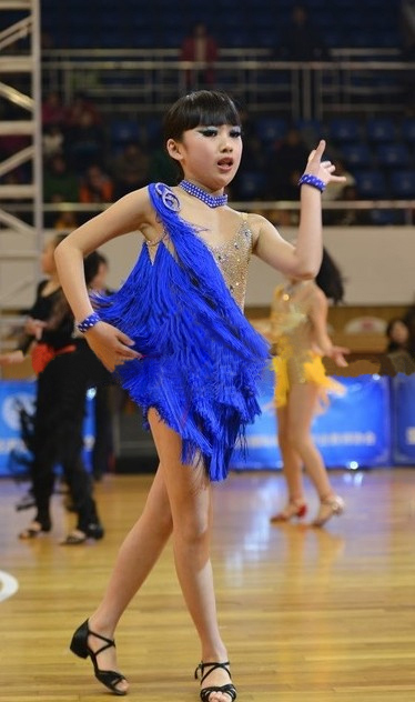 Picture of Customize Teenage Girl Professional Blue Tassel Sequins Latin Dance Competition Costumes For Children Sumba/Rumba Dress
