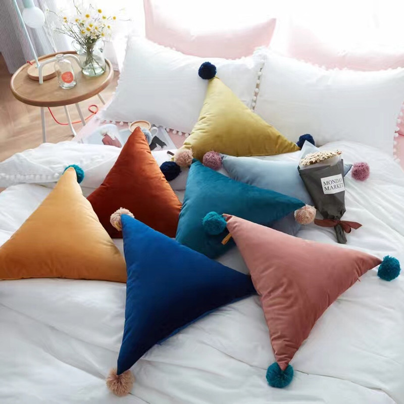Hot Sale Triangle Soft Pillow Car Bed Sofa Cushion Stuffed Ball Home Decoration Comfort Photo Props Gift Nordic Style