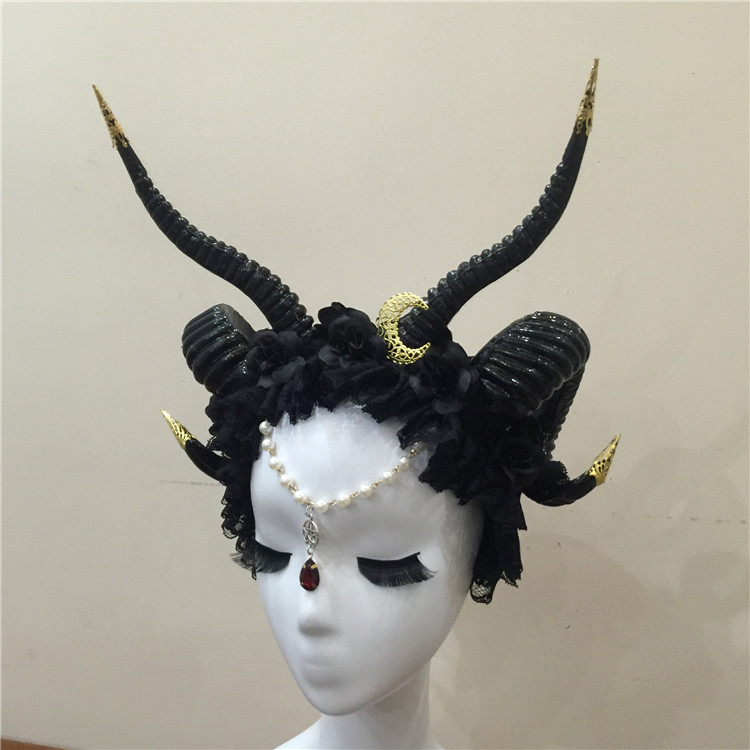 Gothicpunk Ram Horns Headband with Moon Steampunk Hair Accessory Horn Headband Flowers Horns Headdress Hair Accessories-in Boys Costume Accessories from Novelty & Special Use    2