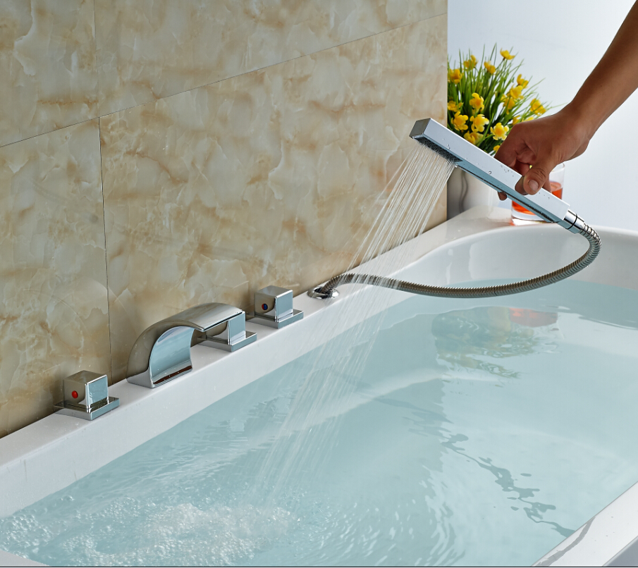 Square Handles Widespread Waterfall Spout Bath Tub Shower Mixer Taps ...