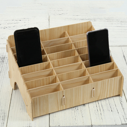 Wooden Mobile phone management storage box creative desktop office meeting finishing grid multi cell phone rack display
