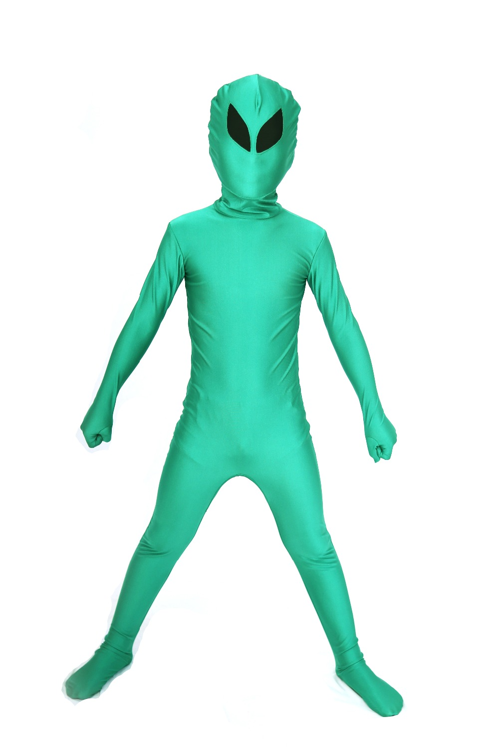 Kids Alien Full Body Suit Child Green Alien Spandex Lycra Zentai Bodysuit Green and Black Stage Performance Costume