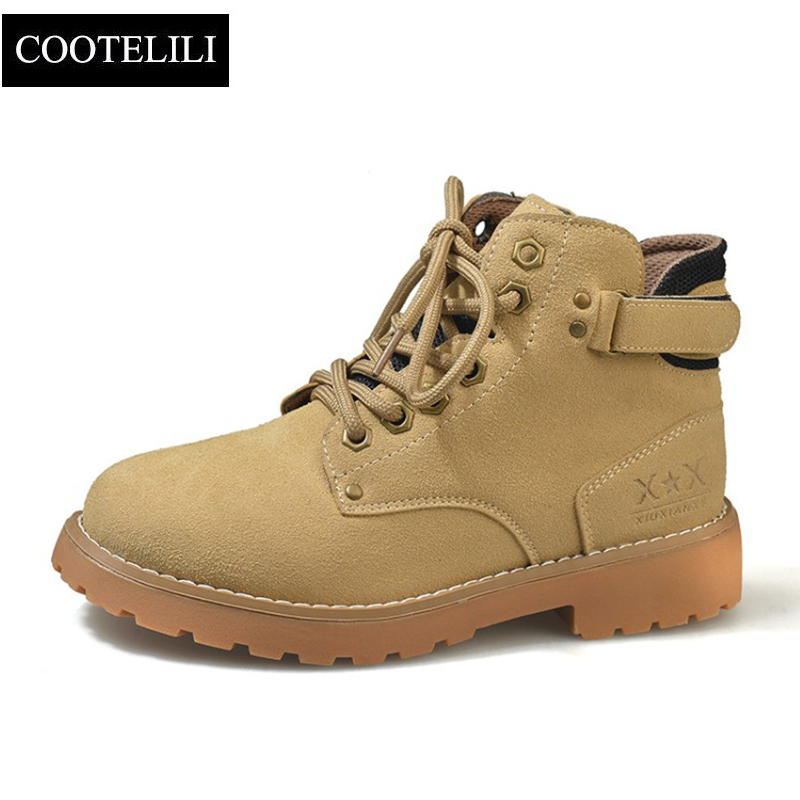 COOTELILI Platform Shoes Motorcycle-Boots Suede Autumn Women Fashion Black 35-40 Winter