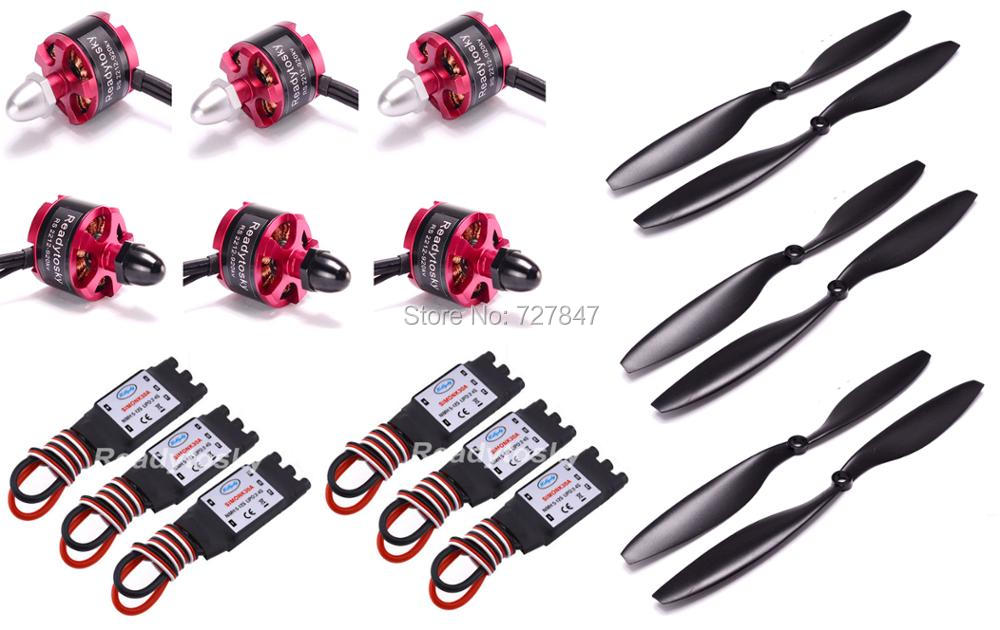 6 X 2212 920KV CW CCW Brushless Motor + 6 X 30A Simonk ESC with 3.5mm Connector + 1045 Prop for F450 F550 S550 F550 Multicopter 2212 920kv brushless motor cw ccw 30a simonk brushless esc 1045 propeller for f450 f550 s550 f550 quadcopter frame