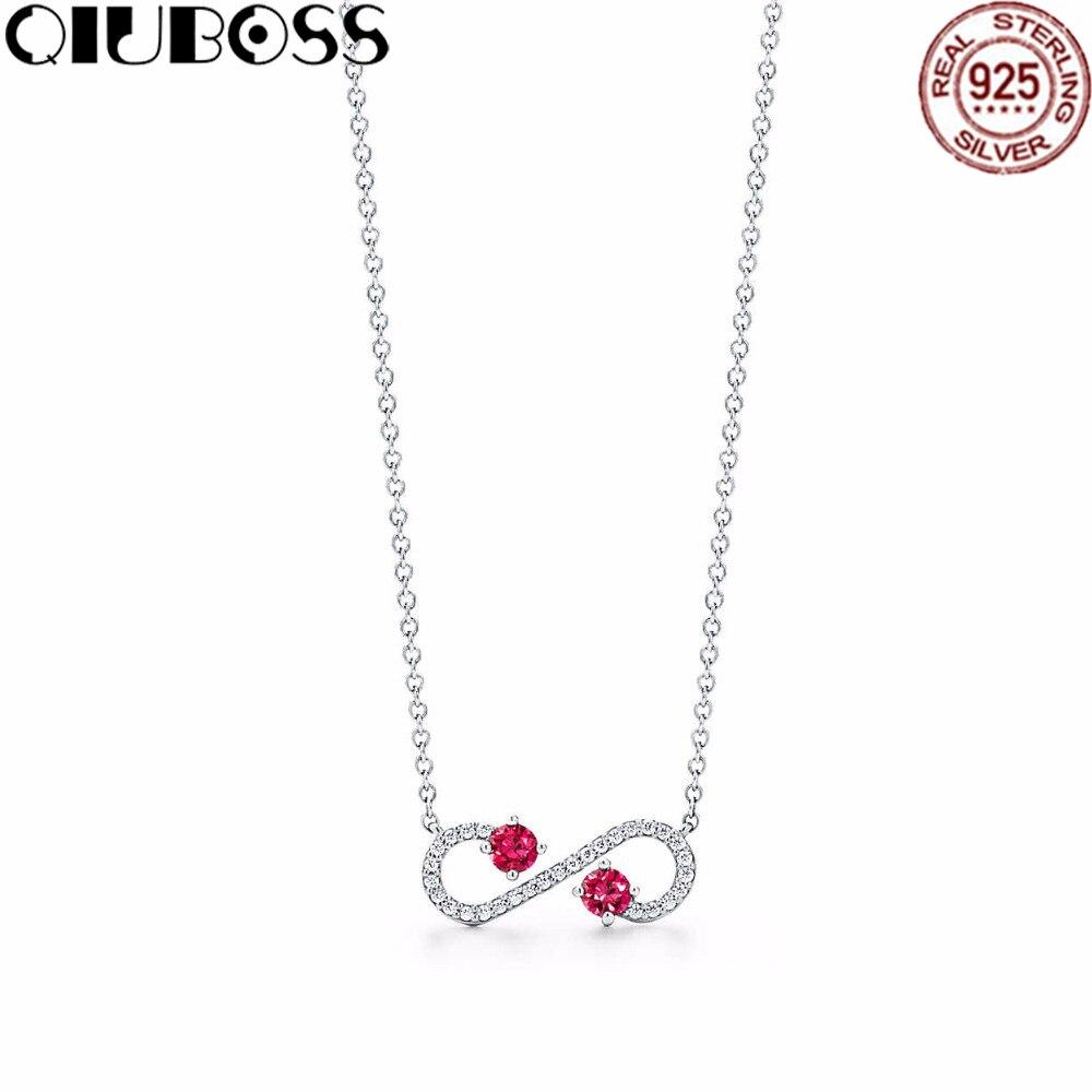 QIUBOSS Trendy Heart Necklace Brand TIFF 925 Streling silver Pendant Charm New York For Women Elegant Fine Bracelet Jewelry trendy letter heart round rhinestone bracelet for women