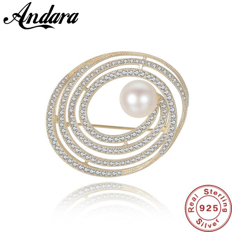 Style Vintage en argent Sterling perle AAA Zircon fête de mariage broche femmes utilisation Multiple vêtements épingles accessoires