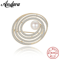 Vintage Style Sterling Silver Pearl AAA Zircon Wedding Party Brooch Women Multiple Use Clothes Pins Accessories