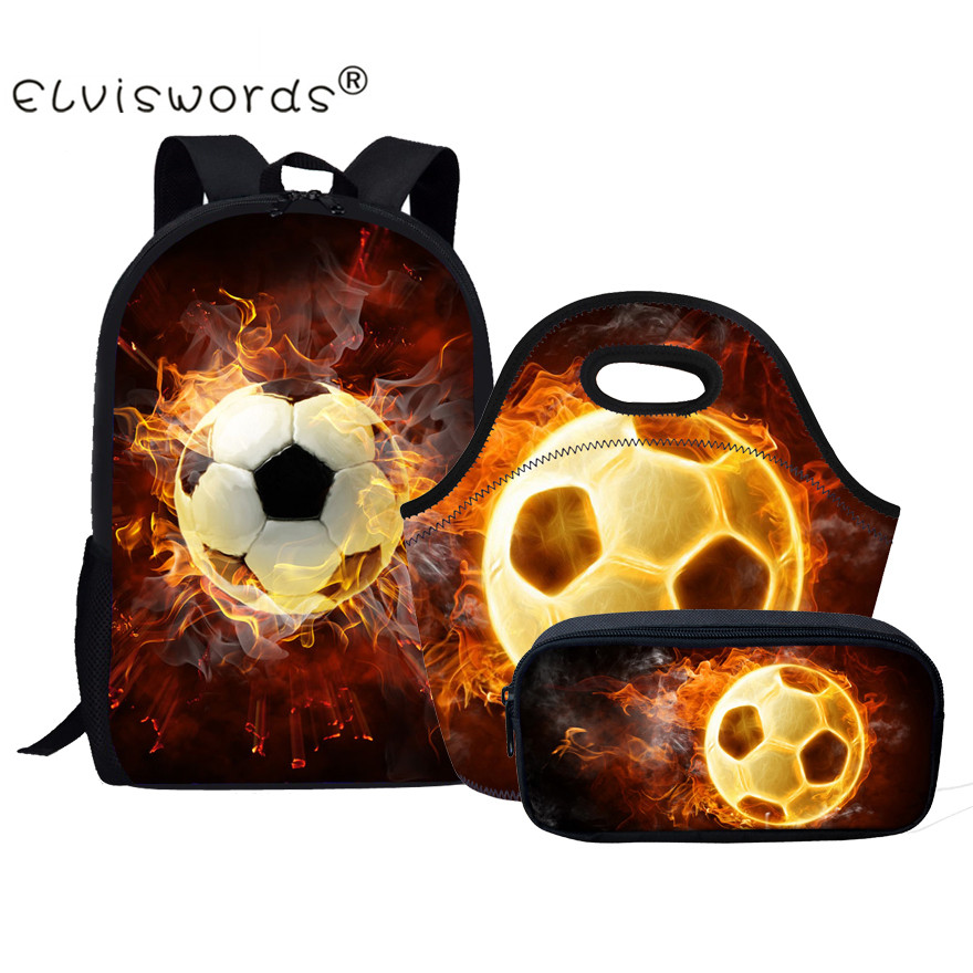 ELVISWORDS 3D Fire Ball Print Kids School Bags Set 3 Pcs Lunch Food & Pencil Bags Children Schoolbag for Teenager Boys Mochila