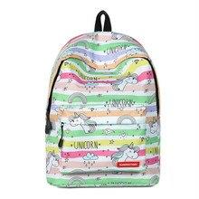 Cartoon Unicorn Bag Backpack New Canvas Schoolbags Women Backpacks School Bags