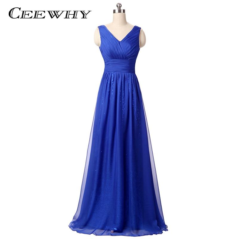 Sinine põrandapikkus V-kaelus järjekindel õhtukleit pikk pruudi bankett Elegantne A-liinivorm Prom Party kleit Robe de Soiree