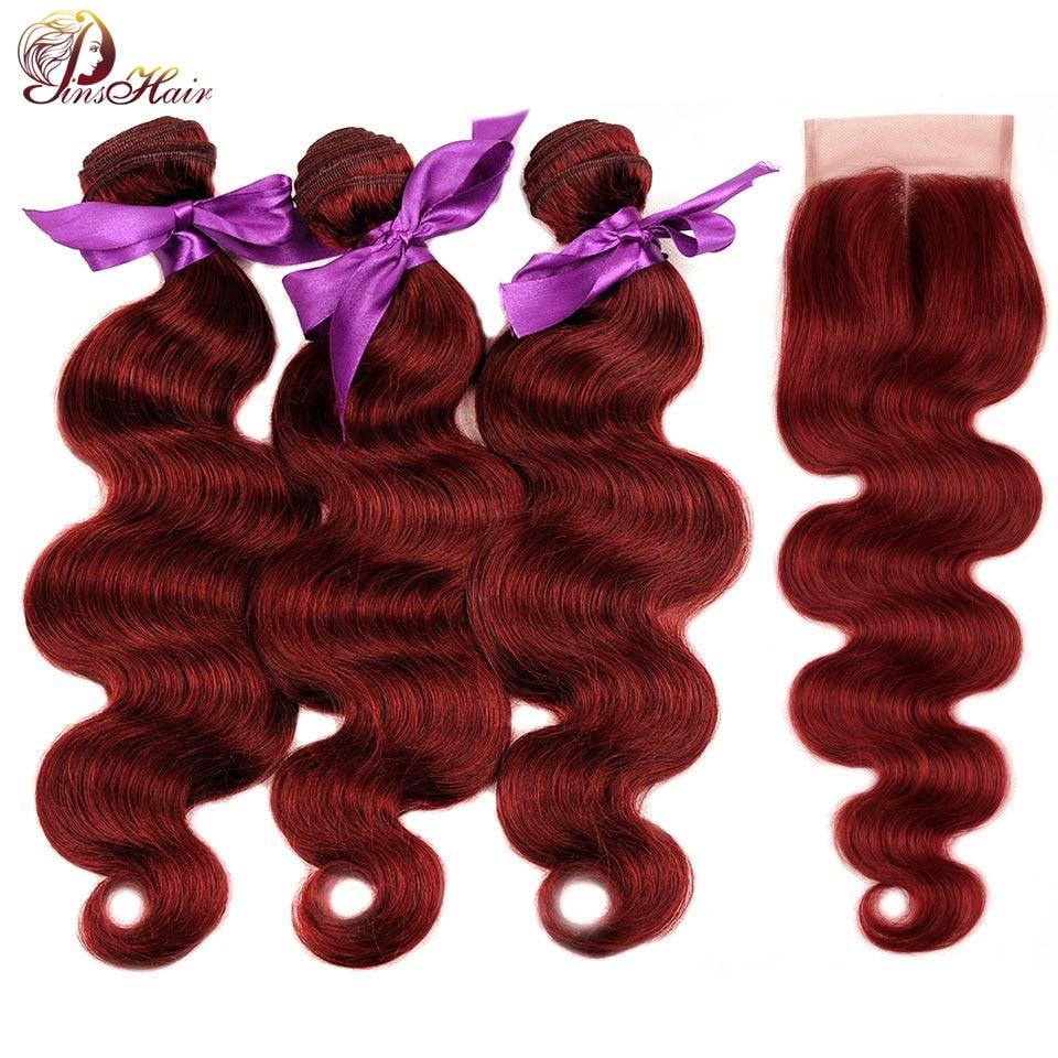 Смелый красный пучки волос 99J Бразильский объемная волна с закрытием бордовый 3 Связки с закрытием Pinshiar не Волосы remy может быть рестайлинг