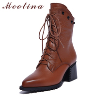 Natural Genuine Leather Shoes Women Boots High Heel Ankle Boots Rivets Lace Up Motorcycle Boots Zip