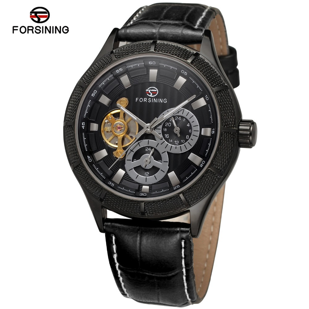 Forsining Men's Watches New Style Fashion Tourbillon Stainless Steel Automatic Famous Brand Wristwatches Color Black FSG566M3 almost famous new black tough love sweater msrp $49 00