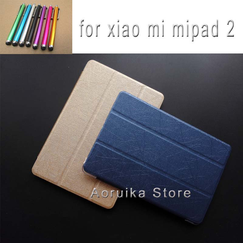 2016 New Arrival Case for Xiaomi Mipad2 MI Pad 2 silk grain multifunctional flip stand PU leather tablet Cover shell para coque