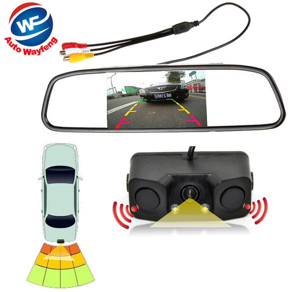 3in1 Video Parking Assistance Sensor Backup Radar With Rear View Camera + 4.3 inch LCD Car Rearview Mirror Monitor Video Parking diykit wireless parking system waterproof parking radar sensor rear view car camera with 7 inch car rear view mirror monitor