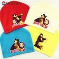 Masha E Urso Dos Desenhos Animados Do Bebê Chapéus de Algodão Kintted Beanie Caps para o bebê boy girl outono inverno do bebê chapéus bonés bebê acessórios