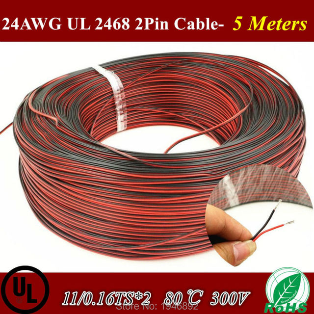 5 Meters Tinned copper 24 AWG, 2 pin cable,Stranded wire PVC ...