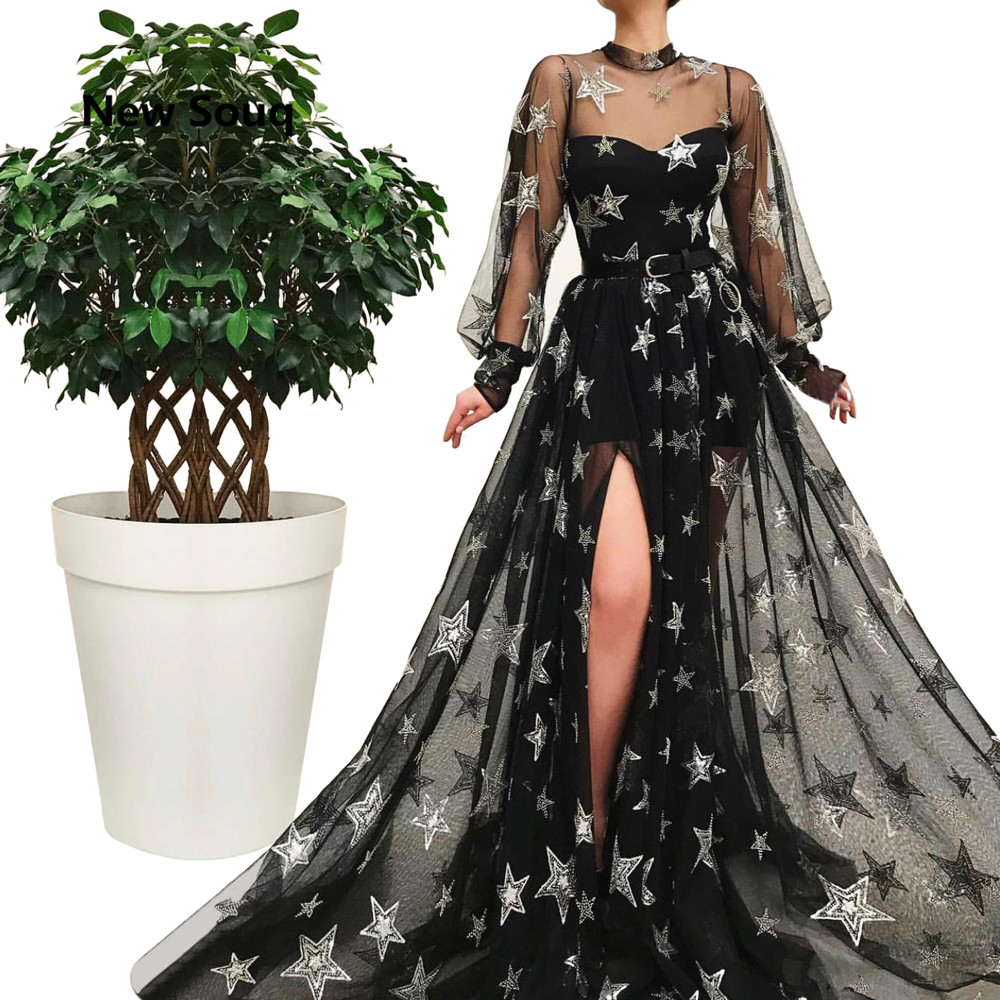 Black Tulle Summer A-Line   Prom     Dresses   Sexy Side Split Sheer High Neck Long Sleeves Applique Beading Evening   Dress