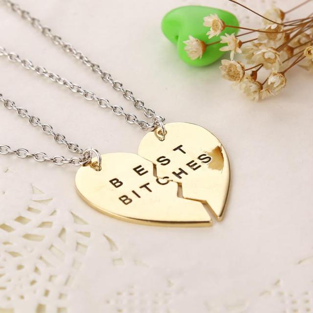 Broken Heart Charm Pendant Best Bitches Necklace
