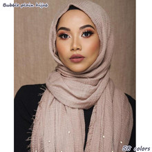1 pc Women bubble plain scarf/scarves fringes women soft solid wrinkle hijabs Scarf fringes muffler shawls muslim wrap 55 colors