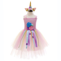 Pink Top Pastel Tulle Tutu Party Unicorn Birthday Dress for Teens 3 Layers Cake Flower Girls Dress Unicorn Girls Clothes Vestido