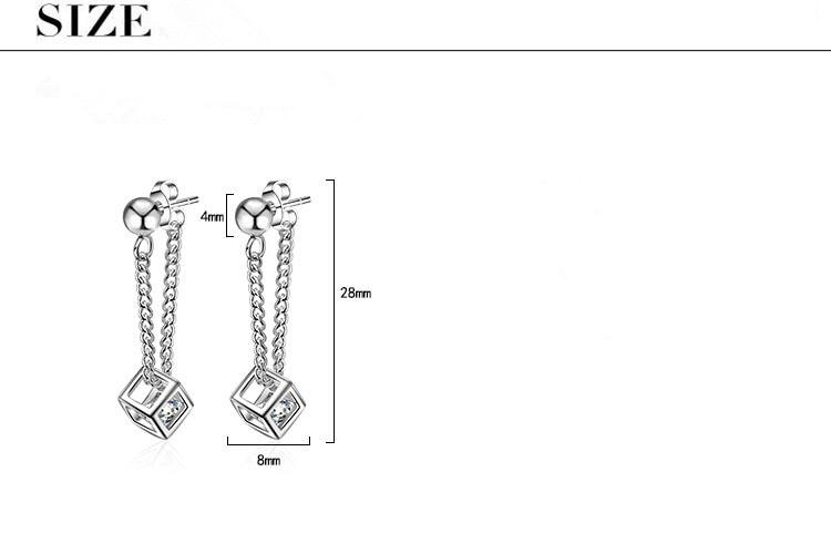 Hot Sale Wholeasle 2018 New Fashion Geometric Design Shiny Zircon 925 Sterling Silver Stud Earrings for Women Girls Jewelry Gift in Stud Earrings from Jewelry Accessories