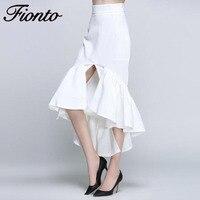 FIONTO Women Pencil Skirt Fashion Slim Bodycon Skirt Business Wear Ruffles Hem Mermaid Style Pack Hip Ladies Party Skirt F098