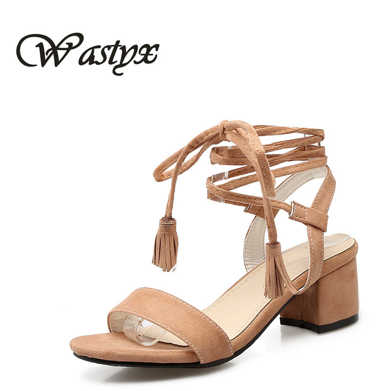 Fringe Women Sandals Plus Size 33-47 New Hot Fashion Summer Office Mid Heel Casual Lace-Up Women Shoes Woman Suede Leather Shoes choudory 2017 design cutouts lace up sexy summer shoes woman fringe fashion beading heel gladiators sandals female black silver