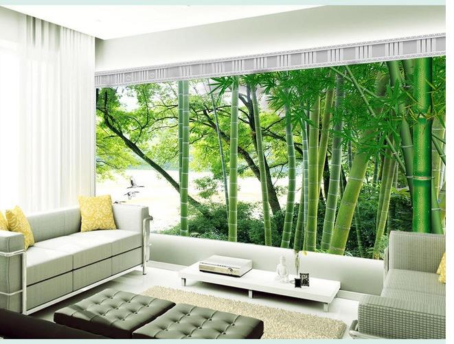 Custom photo wallpaper large 3d sofa tv background for Bamboo mural wallpaper