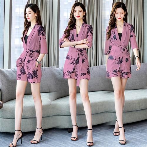 YASUGUOJI New 2019 Spring Fashion Floral Print Pants Suits Elegant Woman Wide leg Trouser Suits Set 2 Pieces Pantsuit Women