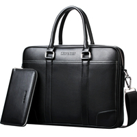 Promotion Simple Famous LEINASEN Brand Business Men Briefcase Bag Luxury Leather Laptop Bag Man Shoulder