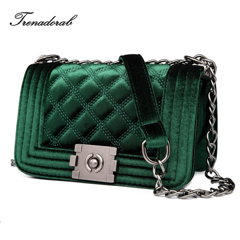 Trenadorab Velour Crossbody bag Women Bag Luxury Women Handbags Purse Designer Brand Ladies Chain Velvet Shoulder Messenger Bags chic mid waist button design ripped denim shorts for women