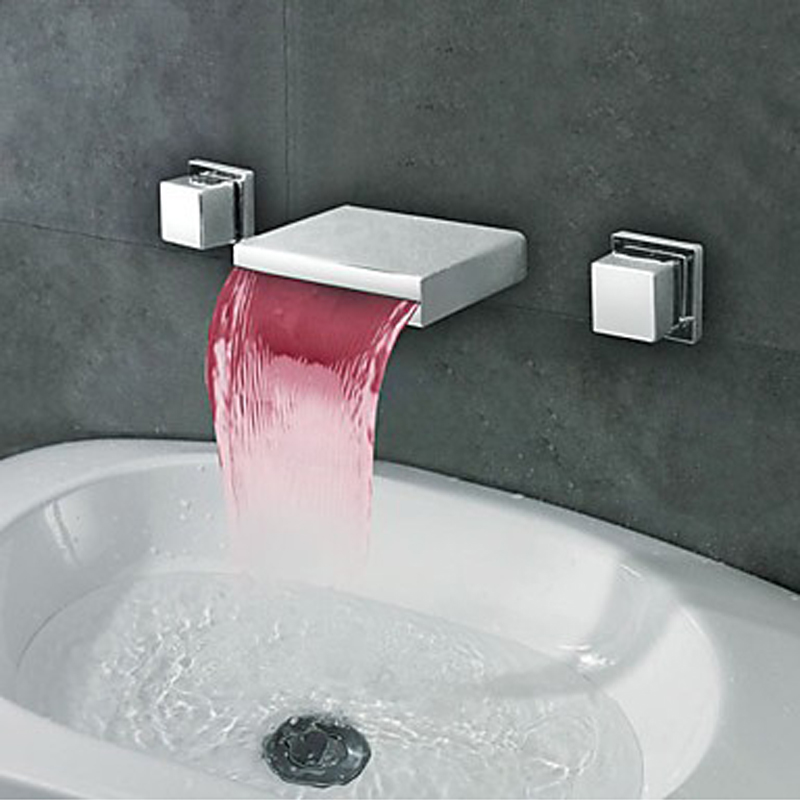 Brass LED Waterfall Bathroom Faucet,Temperature Controlled Faucet ...