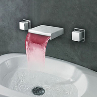 SuperfaucetทองเหลืองLEDน้ำตกห้องน้ำก๊อกน้ำควบคุมอุณหภูมิก๊อกน้ำ, Inwallผสมก๊อกวาล์ว