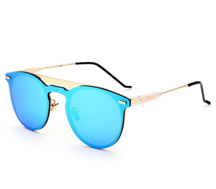 New Arrived Cat Eye double-Bridge Mirror Sunglasses So Real Women/Men Metal Frame Flat Oculos De Sol UV400 Luxury Brand D