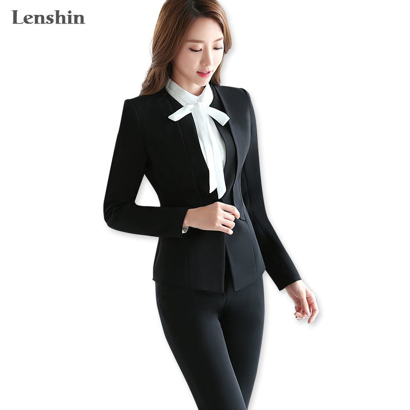Lenshin Two Piece Set Svart Formell Pant Suit Kontor Lady Style Uniform Design Kvinnor Business Suits Blazer For Work Höstslitage