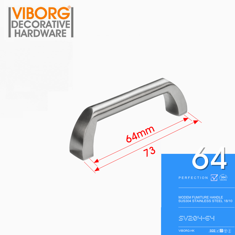 VIBORG Deluxe 64mm 304 Stainless Steel Casting Modern Kitchen Cabinet Cupboard Door Handle Drawer Pulls Handles Knobs,SV204 css clear crystal glass cabinet drawer door knobs handles 30mm